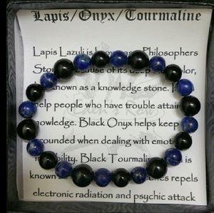 Jewelry - chrome heart's style lapis lazuli bracelet